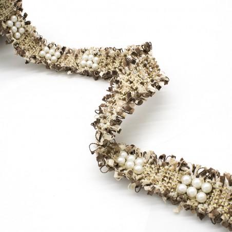 Passamaneria stile Chanel perle tortora