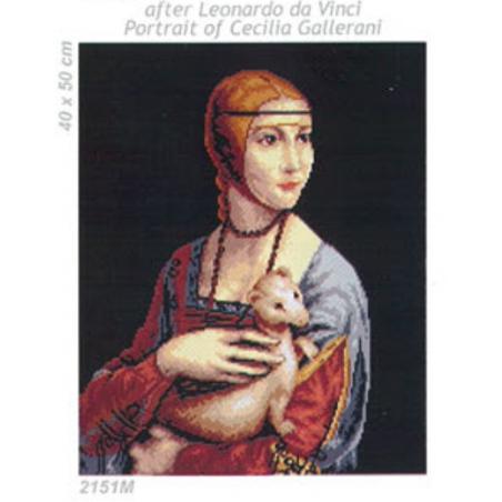 """Tela mezzo punto """"Ritratto di Cecilia Gallerani"""""""