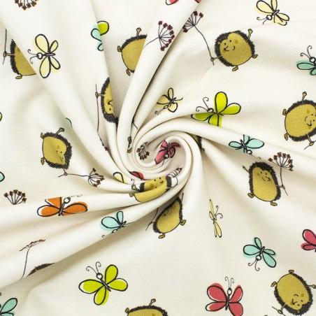 Jersey cotone ricci & farfalle